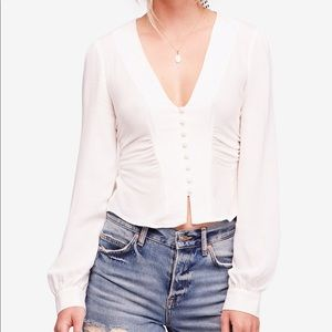 Free people white masie shirt xs